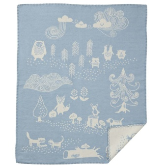 Bomullsfilt - Little Bear - blå