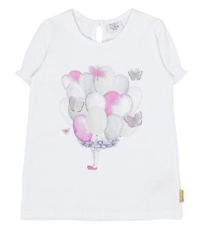 T-shirt vit med ballonger/fjärilar