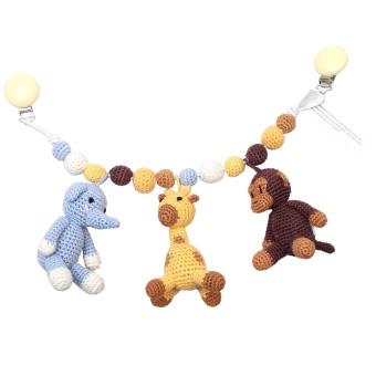 Barnvagnsmobil - Monkey, giraffe and elephant