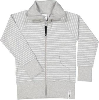 Ziptröja gråmelerad/vit