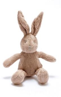 Kanin, mönsterstickad, brun