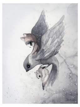 Flying sparrow, poster 30x40 cm