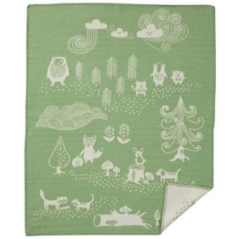 Bomullsfilt - Little Bear - grön