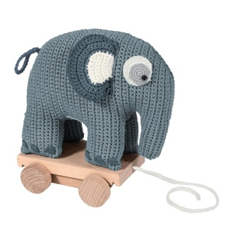 Virkat dragdjur (pull along) elefant blå