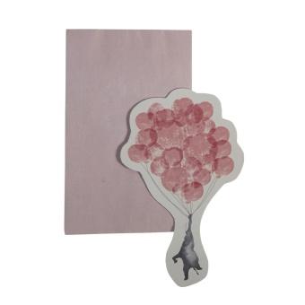 Kort med kuvert In the sky elefant vintage rosa