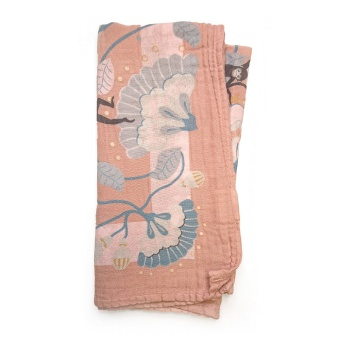 Bamboo Muslin Blanket - Faded Rose Bells