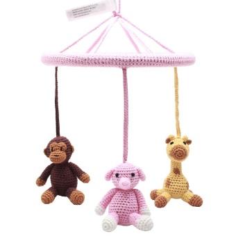 Mobil - Monkey, Giraffe and Elephant (light pink)