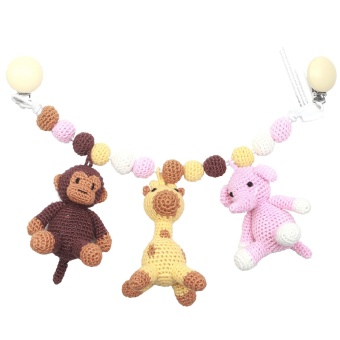 Barnvagnsmobil - Monkey, Giraffe and Elephant light pink