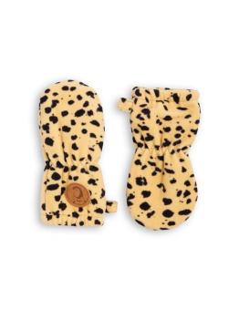 Vantar - Fleece Spot baby mittens - beige/leopard