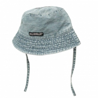 Solhatt med band - soft denim mid wash