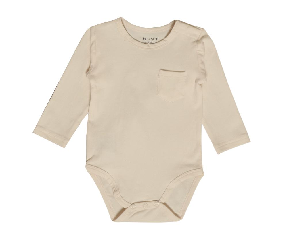 Body med ficka framtill, cremefärgad