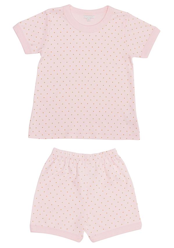 Sommarpyjamas rosa/guld prickar 2-delar