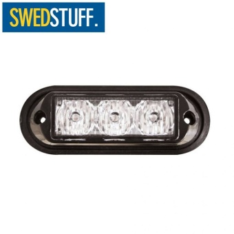 SWEDSTUFF Blixtljus 3LED 12-24V Orange. Klar lins. 3W