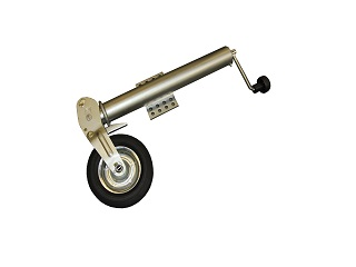Kraftigt självuppvikande stödhjul, högt fäste