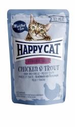 HappyCat våt, Adult, sterilised, kyckl.& forell 85g
