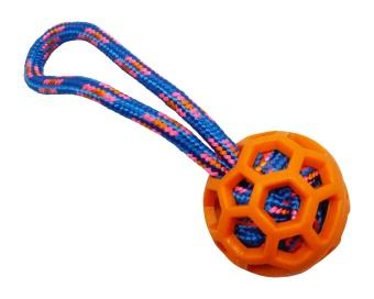 Orange TPR-boll m blått rep