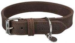 Rustic råläder, halsband,L-XL: 57-66 cm/30 mm, mörkbrun
