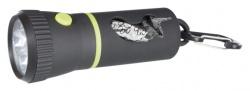Ficklampa LED, svart med bajspåsehållare m 20 påsar, M
