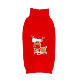 Dogman Stickad tröja Julmotiv Ren Röd