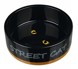 Kattskål keramik Street cat bl.färger