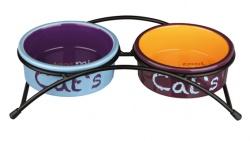 Matbar m Keramikskålar Katt Ljusblå/Orange/Lila 2x0,3 Lx 12 cm