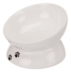 Keramikskål, katt,0.25 l/ø 13 cm, vit