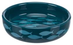 Kattskål fiskstim, för kortnosiga, keramik, 0.3 l/ø 15 cm, petrol/blå