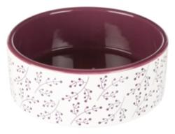 Keramikskål, 1.4 l/ø 20 cm, vit/berry