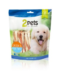 2pets Dogsnack Chicken&Fish Twist, 400 g