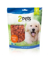 2pets Dogsnack Chicken Cubes, 400 g