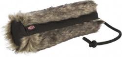 Pälsdummy, plysch/polyester, ø 6 × 20 cm, kaninpälslook/svart