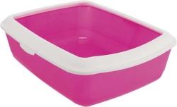 Kattlåda Classic m kant, 37 × 15 × 47 cm, rosa/vit