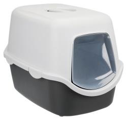 Kattlåda Vico m huv/lucka 40×40×56 cm, mörkgrå/ljusgrå