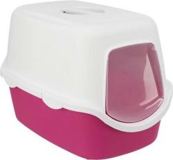 Kattlåda Vico m huv/lucka 40×40×56 cm, rosa/vit