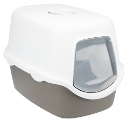 Kattlåda Diego huv/filter/lucka Grå/Cream 56x40x40 cm