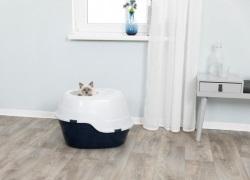 Kattlåda Luiz, takentré, 63 × 42 × 49 cm, mörkblå/vit