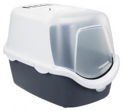 Kattlåda Vico öppningsb.front 40x40x56 cm, mörkblå-grå/vit