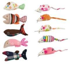 kattleksaker. Möss/fiskar, plysch/tyg, 9–12 cm