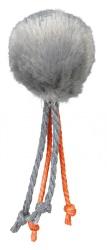 Plyschboll med repsvansar, ø 4 cm