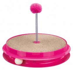 Kattleksak, Scratch & Catch, 2-sidig, ø 35×7 cm, rosa