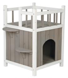 Cats Home med balkong, 45×h65×45 cm, grå/vit