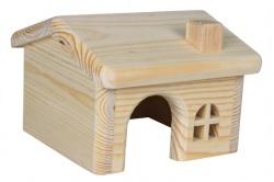 Trähus till mus/hamster, 15×11×15 cm
