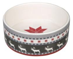 JUL Keramikskål grå/röd/vit 0,3L 12 cm