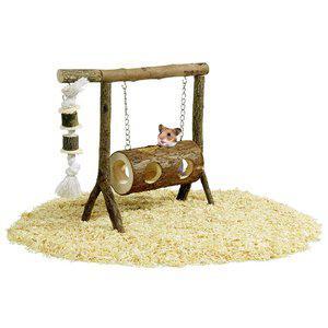 Lekplats trä hamster swing 31x25cm tunnelgunga
