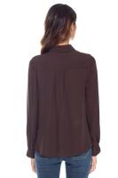 Multi button sidenblus brun