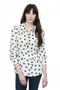 Carmen silk blouse - Leaf print