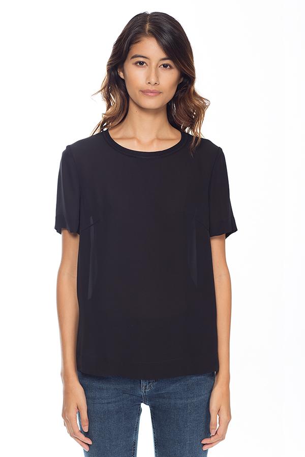 Siden t-shirt svart