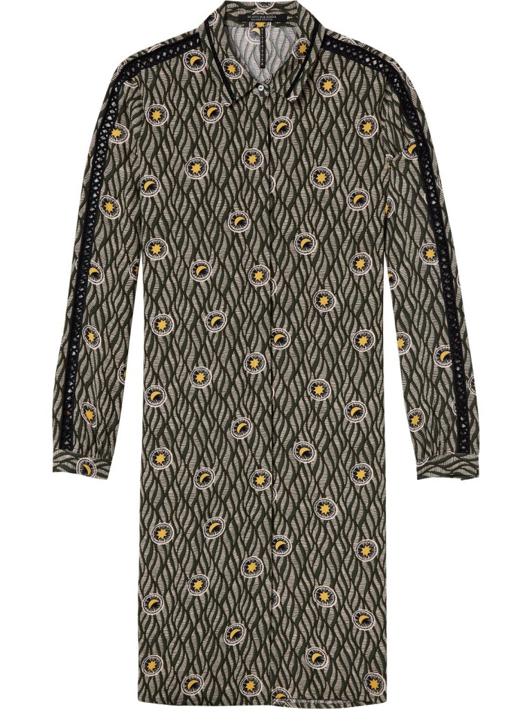 Viscose shirt dress with ladder details in various prints
