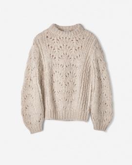 Pointelle R-neck Sweater