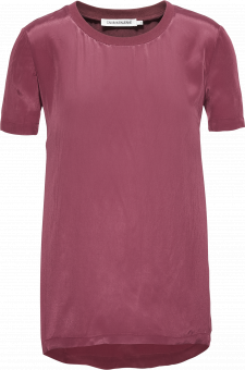FAUX SILK WOVEN SHORT SLEEVE TEE